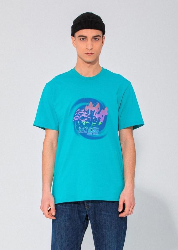Niebieski t-shirt LOCAL HEROES z nadrukiem z krótkim rękawem w młodzieżowym stylu