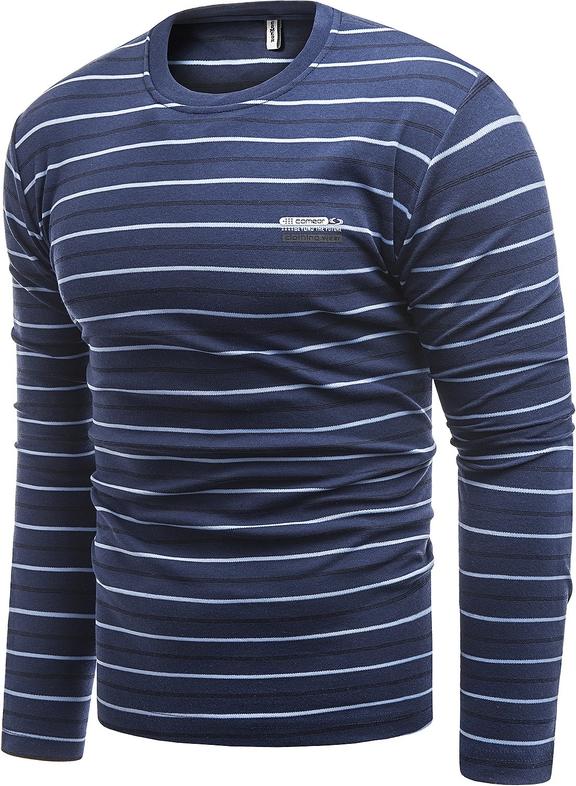 Niebieski t-shirt Risardi z długim rękawem