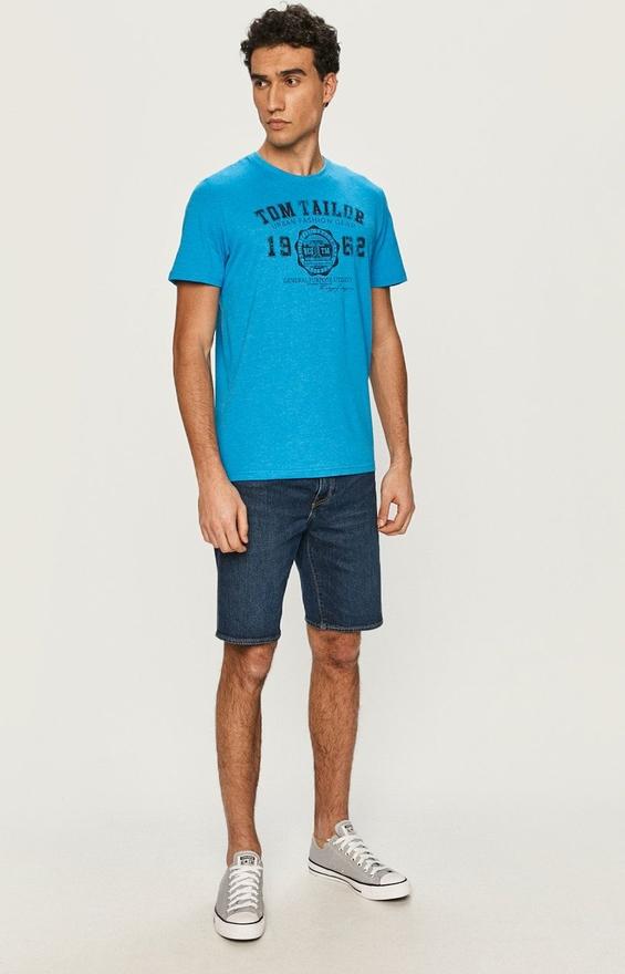 Niebieski t-shirt Tom Tailor w młodzieżowym stylu z krótkim rękawem