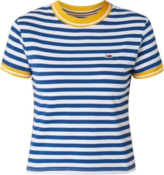 Niebieski t-shirt Tommy Hilfiger z bawełny z krótkim rękawem