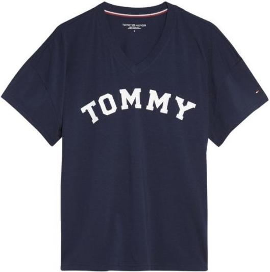 Niebieski t-shirt Tommy Hilfiger z krótkim rękawem w młodzieżowym stylu