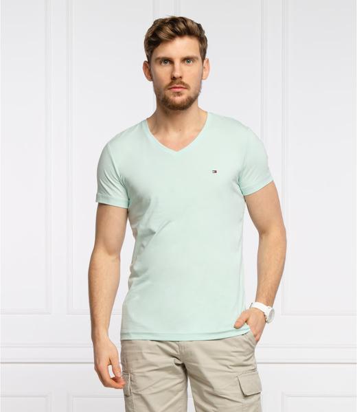 Niebieski t-shirt Tommy Hilfiger z krótkim rękawem w stylu casual