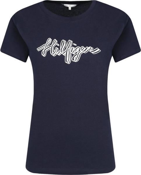 Niebieski t-shirt Tommy Hilfiger z okrągłym dekoltem w młodzieżowym stylu
