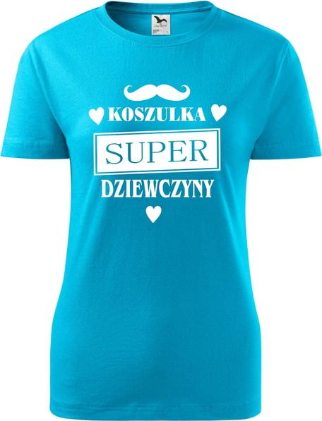 Niebieski t-shirt TopKoszulki.pl z okrągłym dekoltem z bawełny z krótkim rękawem