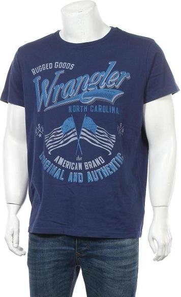 Niebieski t-shirt Wrangler z krótkim rękawem z bawełny w młodzieżowym stylu