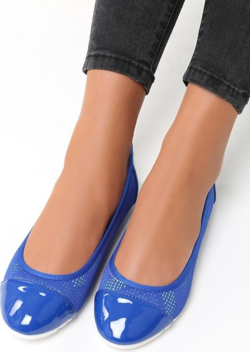 Niebieskie baleriny Multu na platformie ze skóry ekologicznej