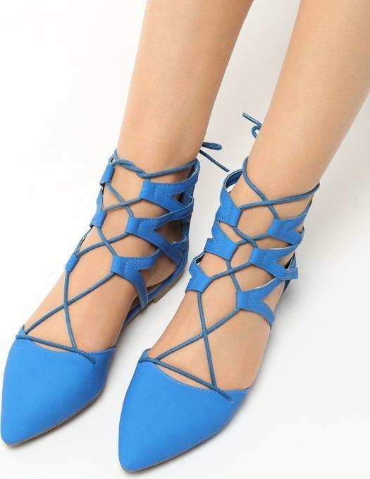 Niebieskie baleriny renee na zamek w stylu casual