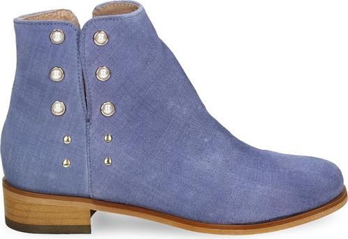 Niebieskie botki Darbut w stylu casual z płaską podeszwą na zamek