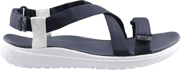 Niebieskie buty dziecięce letnie 4F dla dziewczynek w paseczki