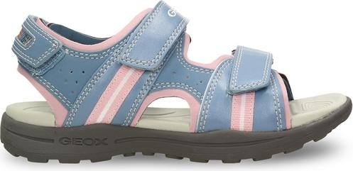 Niebieskie buty dziecięce letnie Geox na rzepy ze skóry