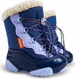 Niebieskie buty dziecięce zimowe Demar z dzianiny dla chłopców
