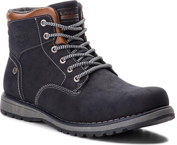 Niebieskie buty zimowe Lanetti ze skóry ekologicznej