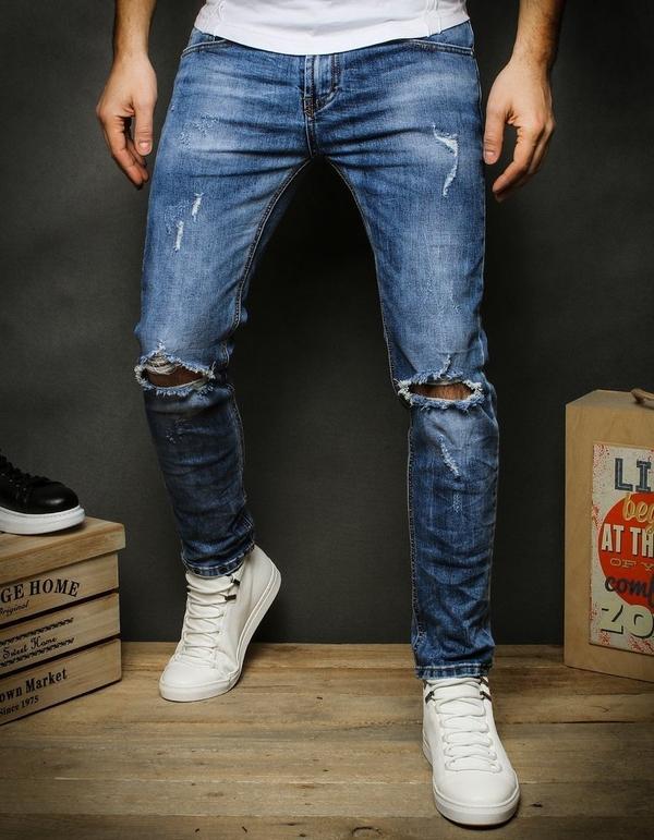Niebieskie jeansy Dstreet z bawełny