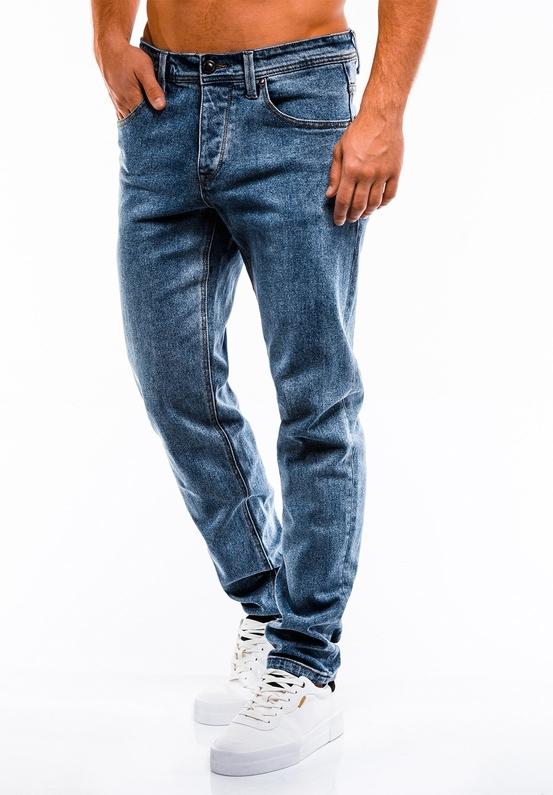 Niebieskie jeansy Edoti z jeansu