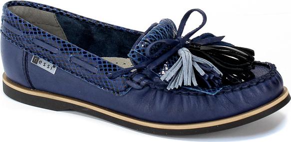 Niebieskie półbuty Nessi z płaską podeszwą w stylu casual