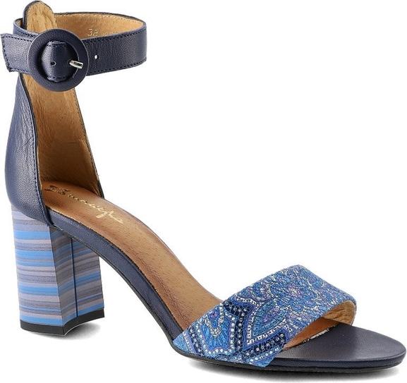 Niebieskie sandały Maciejka ze skóry