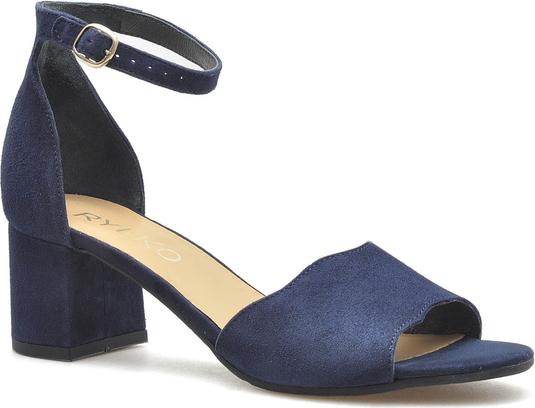 Niebieskie sandały Ryłko na obcasie na średnim obcasie ze skóry