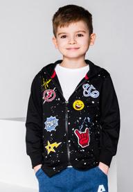 Ombre clothing bluza rozpinana z kapturem dziecięca kb017 - czarna