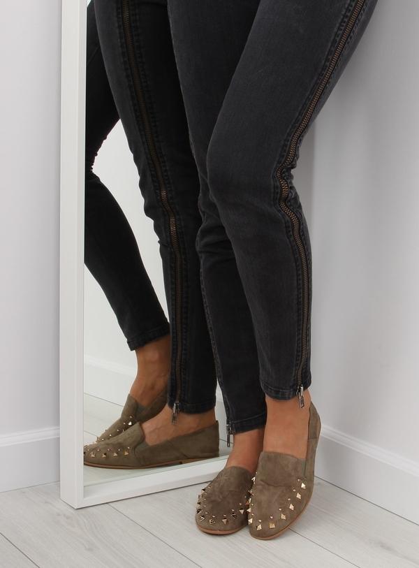 Półbuty Obuwie Damskie z płaską podeszwą ze skóry ekologicznej w stylu vintage