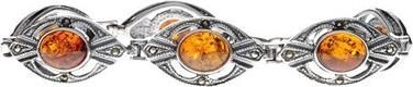 Polcarat Design Bransoletka srebrna z bursztynem i markazytem LA 047
