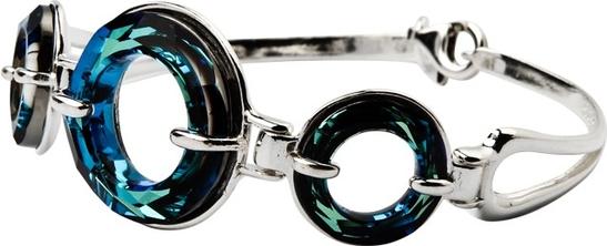 Polcarat Design Bransoletka srebrna z kryształami Swarovskiego R 1502 : Kolor - Bermuda Blue