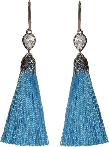 Polcarat Design Srebrne kolczyki frędzle / miotełki chwosty z cyrkonią K 1273 : Kolor - Niebieski