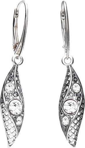 Polcarat Design Srebrne oksydowane kolczyki z kryształami Swarovski K 1966 : Kolor - Crystal