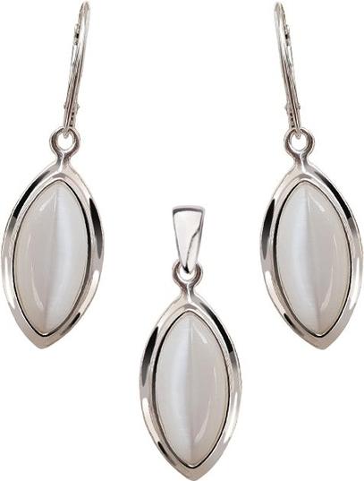Polcarat Design Srebrny komplet zdobiony kamieniami Kocie Oko KPL 600 Kocie Oko