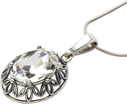 Polcarat Design Srebrny oksydowany wisiorek Swarovski W 1672 : Kolor - Crystal
