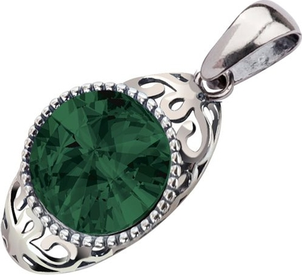 Polcarat Design Wisiorek srebrny oksydowany Swarovski Elements W 2067 : Kolor - Emerald