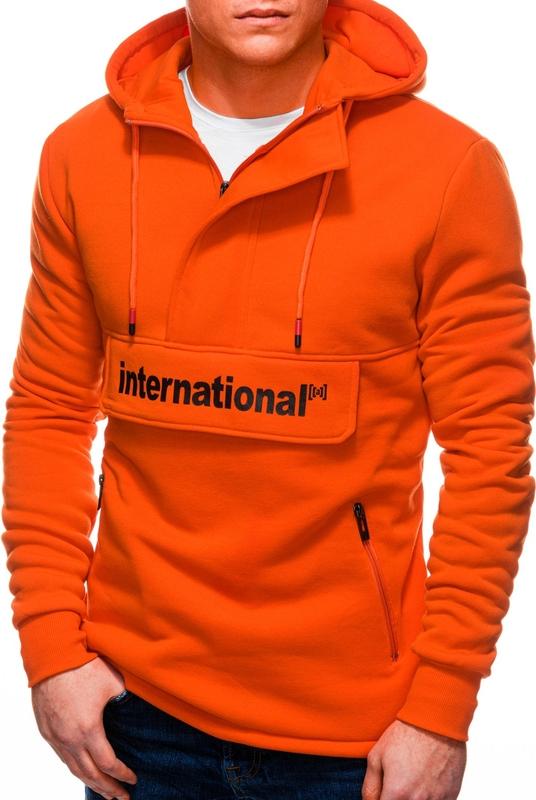 Pomarańczowa bluza Edoti w młodzieżowym stylu z bawełny