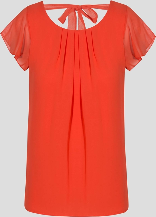 Pomarańczowa bluzka ORSAY z krótkim rękawem z okrągłym dekoltem
