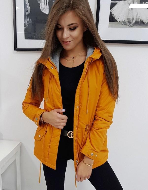Pomarańczowa kurtka Dstreet w stylu casual krótka
