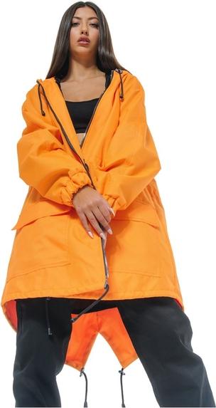 Pomarańczowa kurtka REST FACTORY w stylu casual z tkaniny