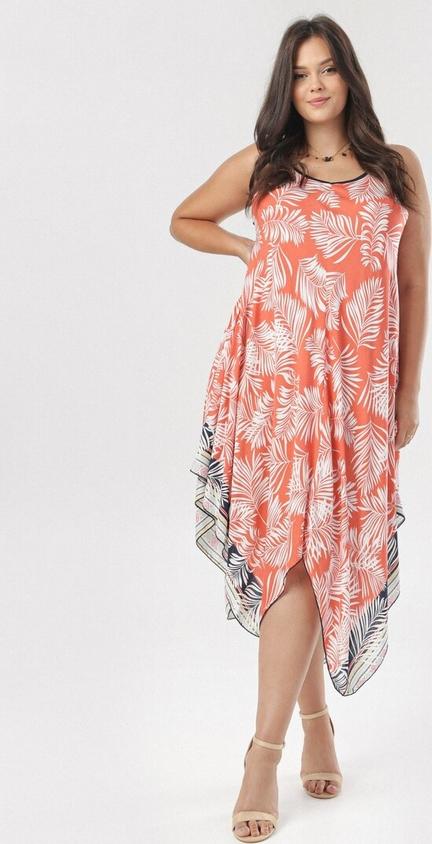 Pomarańczowa sukienka born2be bez rękawów z okrągłym dekoltem