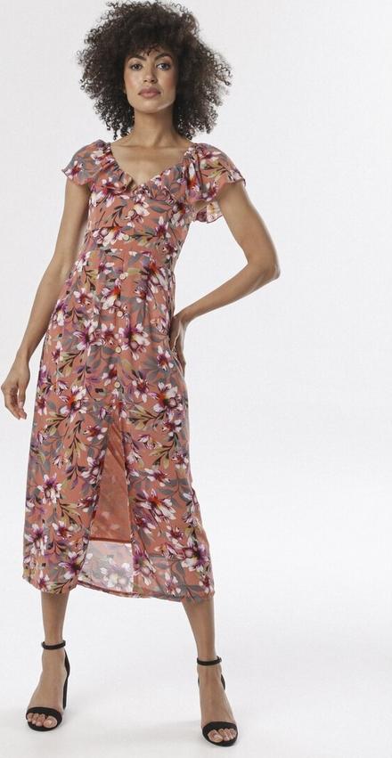 Pomarańczowa sukienka born2be maxi z dekoltem w kształcie litery v