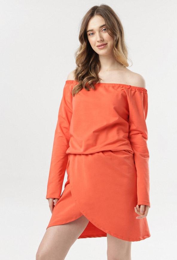 Pomarańczowa sukienka born2be w stylu casual