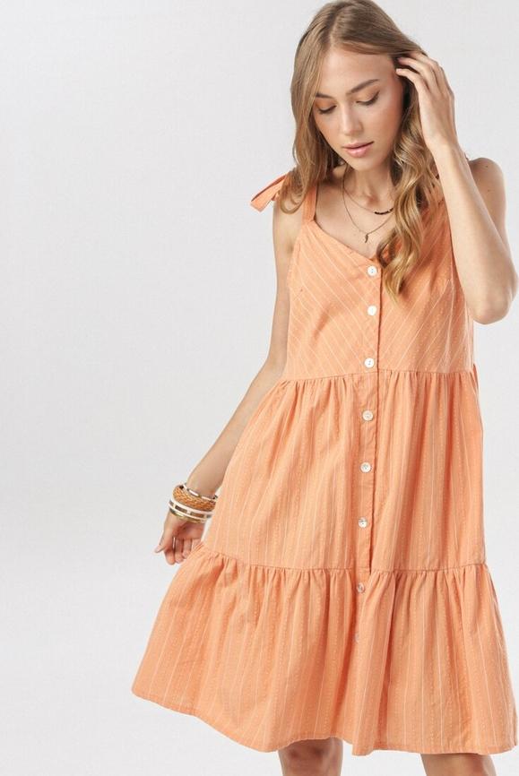 Pomarańczowa sukienka born2be z dekoltem w kształcie litery v w stylu casual