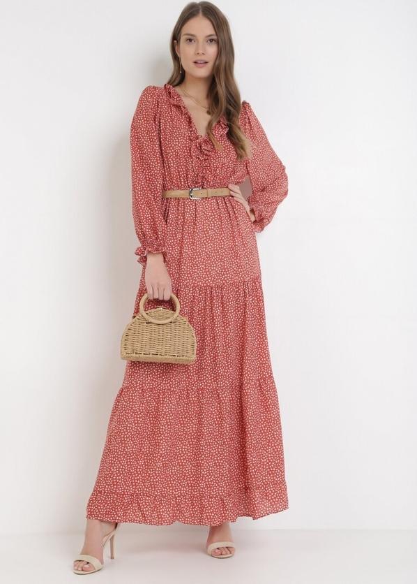 Pomarańczowa sukienka born2be z długim rękawem maxi z dekoltem w kształcie litery v