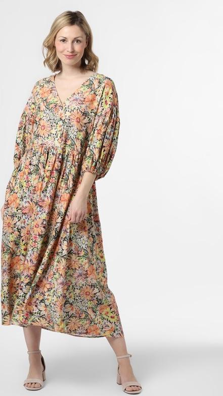 Pomarańczowa sukienka EDITED maxi z dekoltem w kształcie litery v