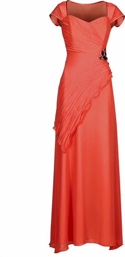 Pomarańczowa sukienka Fokus z krótkim rękawem maxi rozkloszowana