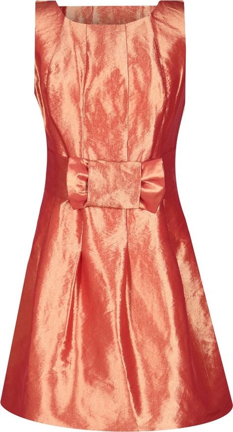 Pomarańczowa sukienka Fokus z krótkim rękawem rozkloszowana