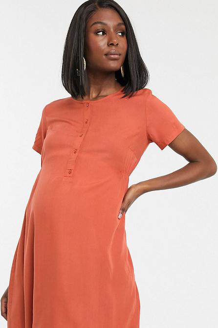 Pomarańczowa sukienka Mama Licious z krótkim rękawem