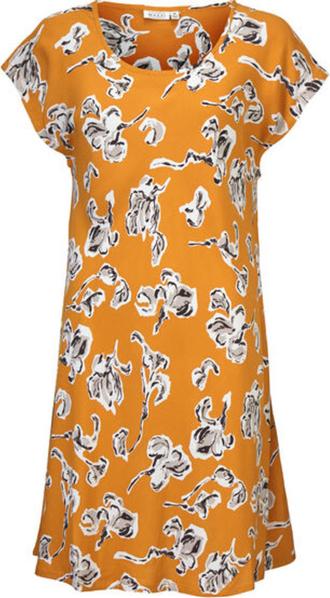 Pomarańczowa sukienka Masai z krótkim rękawem
