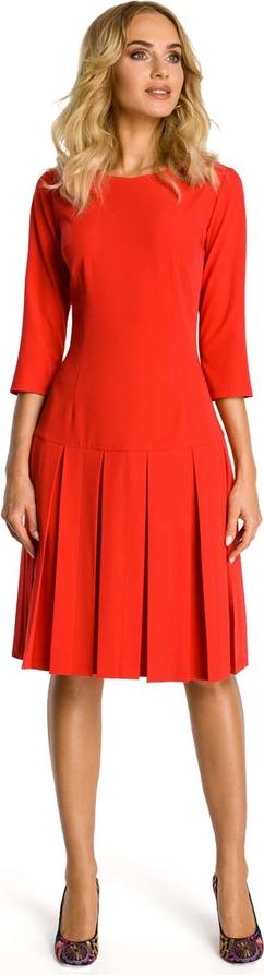 Pomarańczowa sukienka MOE z okrągłym dekoltem