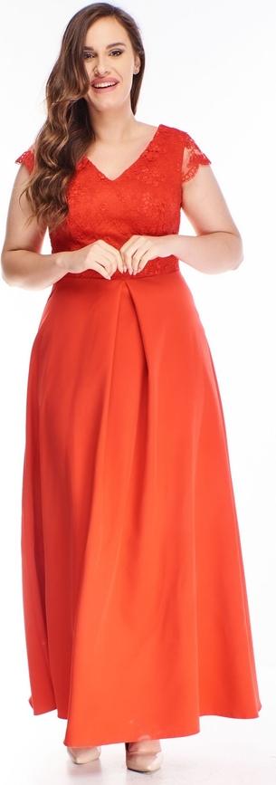 Pomarańczowa sukienka N/A z krótkim rękawem dla puszystych