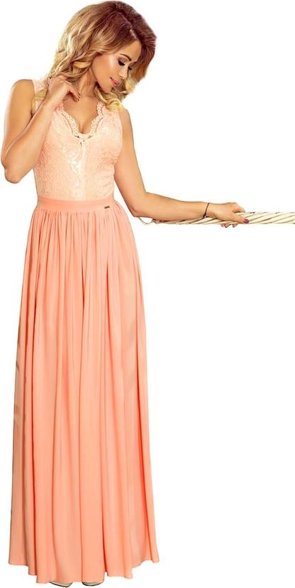 Pomarańczowa sukienka NUMOCO z dekoltem w kształcie litery v
