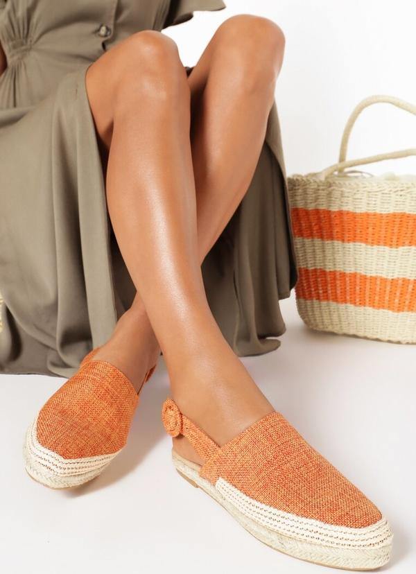 Pomarańczowe espadryle born2be z tkaniny w stylu boho