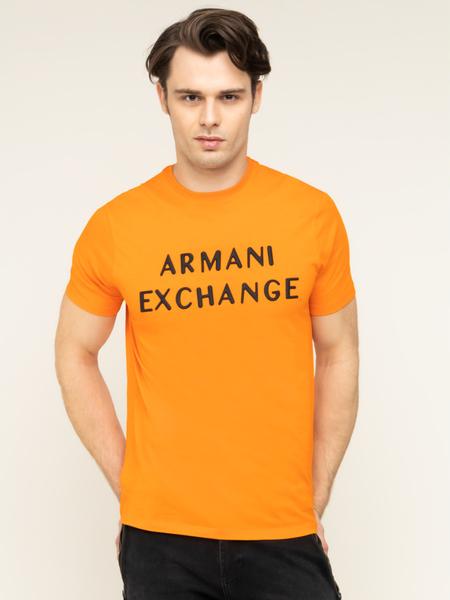 Pomarańczowy t-shirt Armani Exchange z krótkim rękawem