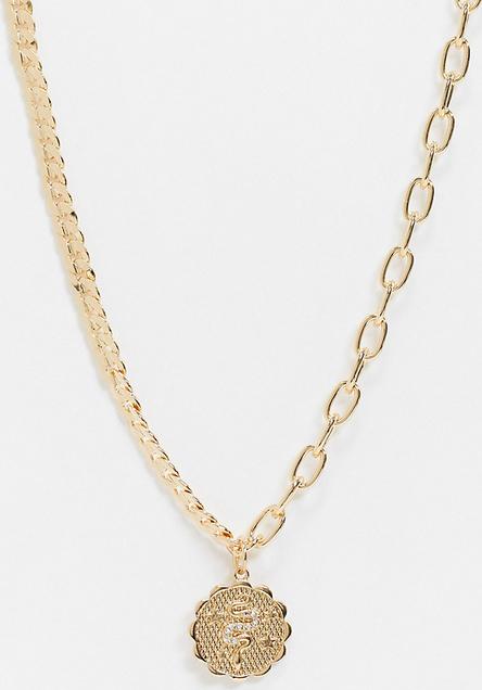 Reclaimed Vintage Inspired – Łańcuszkowy naszyjnik w kolorze złotym z zawieszką w kształcie monety